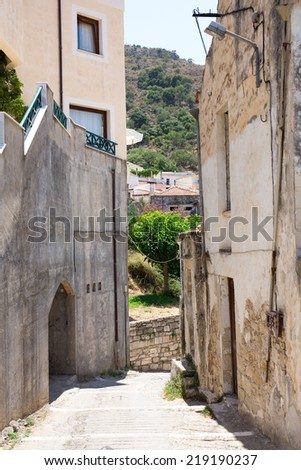 Small village in the mountains of Crete  - stock photo