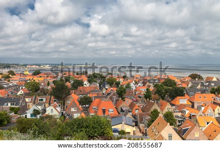 small village on the island Terschelling in the Netherlands  - stock photo