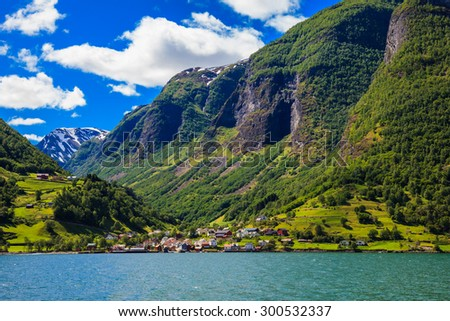 Small village on the scenic Sognefjord in Norway. - stock photo