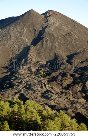 small volcanic cone of De Fiore Mount and cooled lava flow (sciara) of the 1974 eruption in Etna National Park, Sicily - stock photo