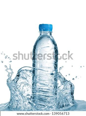 Small water bottle splash - stock photo