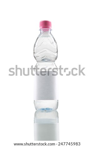 Small water bottle with blank label - stock photo