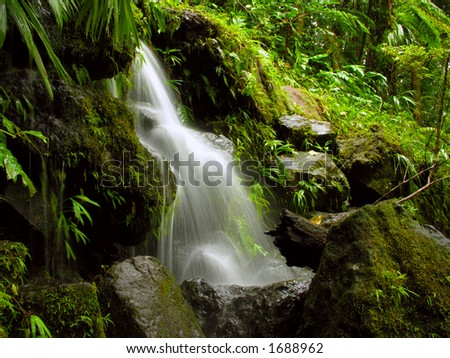 Small waterfall along the trail to Middleham Falls, Dominica. - stock photo