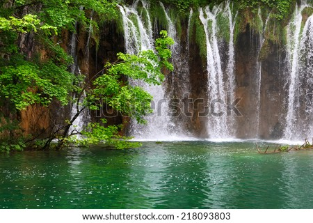 Small Waterfall in the Plitvice Lakes in Croatia  - stock photo