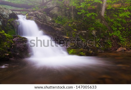 Small waterfall on Doyle's River in Shenandoah National Park, Virginia. - stock photo