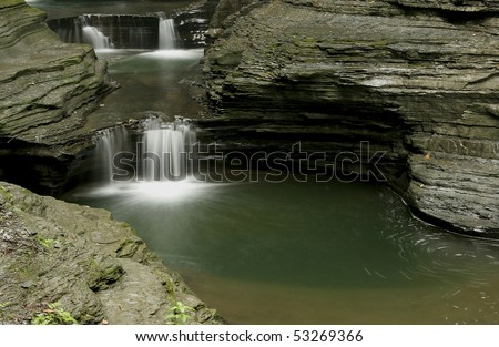 Small waterfall with pool at Watkins Glen State Park, New York - stock photo