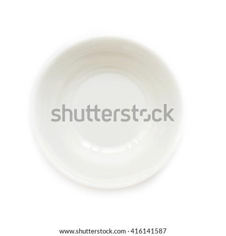 Small white ceramic bowl isolated on white background. - stock photo
