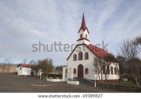 Small white church in Iceland. - stock photo