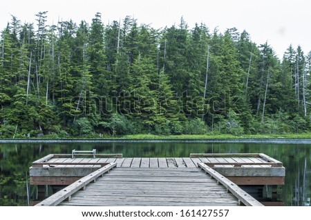 Small wooden dock on quiet lake backdropped by dense green pine forest on cloudy summer day in southeast Alaska - stock photo