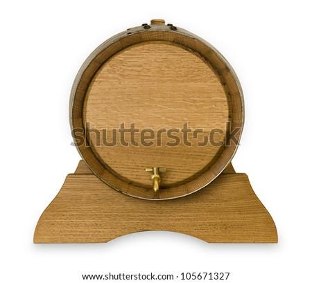 Small wooden oak wine barrel isolated - stock photo