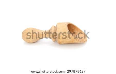 Small wooden scoop, isolated on a white background - stock photo