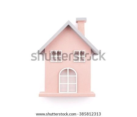 Small wooden toy house isolated on white with clipping path - stock photo