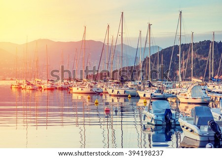 Small yachts at sunset in Lerici, Ligurian region, Italy. - stock photo