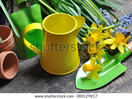 small yellow watering can  and spring flowers - stock photo