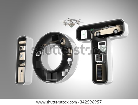Smart appliance in word IoT. Internet of Things in consumer products concept. - stock photo