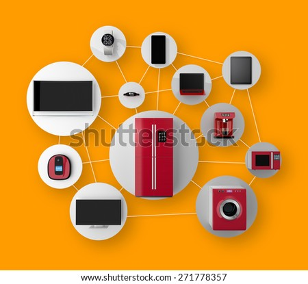 Smart appliances in network. Concept for Internet of Things. - stock photo