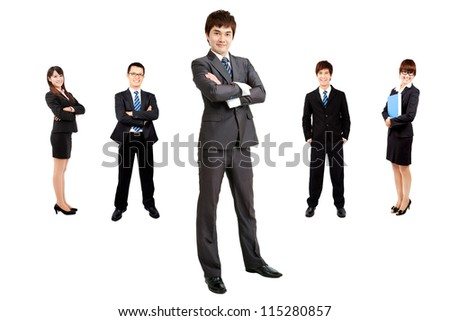 smart asian businessman with business team - stock photo