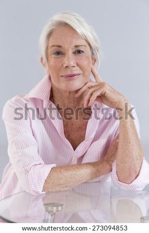 Smart Attractive senior woman - stock photo