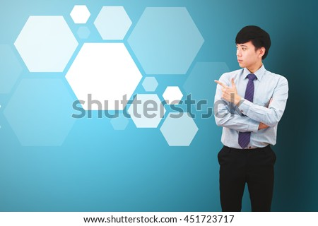 Smart Business man and polygon background - stock photo