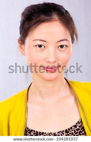 Smart business woman, closeup portrait on white background. - stock photo
