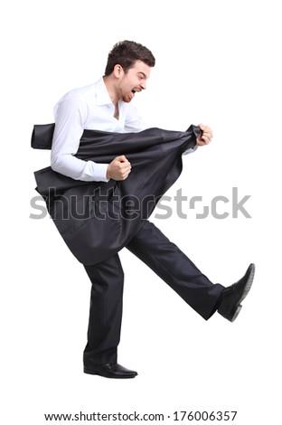 Smart businessman rocking it off playing airguitar  - stock photo