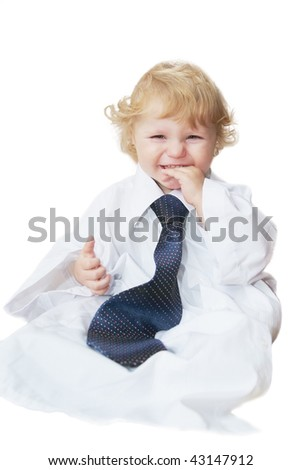 Smart cute baby boy dressed as businessman isolated on white - stock photo