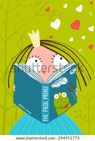 Smart Cute Little Girl Reading Fairy Tale Book. Brightly colored hand drawn illustration for children. Raster variant. - stock photo
