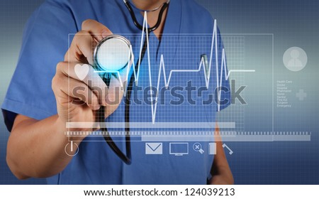 smart doctor and technology as medical concept - stock photo