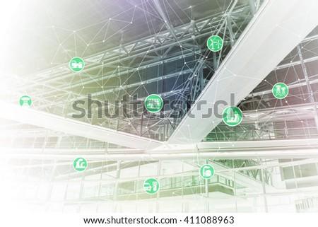 smart energy, smart grid, abstract image visual - stock photo
