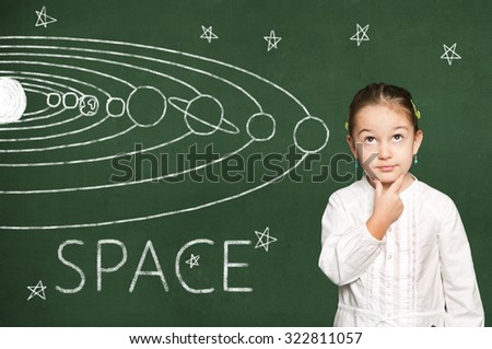 smart girl thinking, chalkboard background - stock photo
