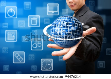 Smart hand hold the globe and multi icon - stock photo