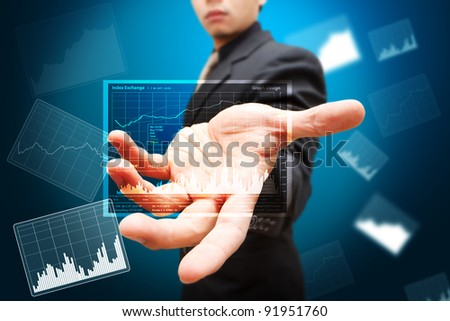 Smart hand show report graph in 3D - stock photo