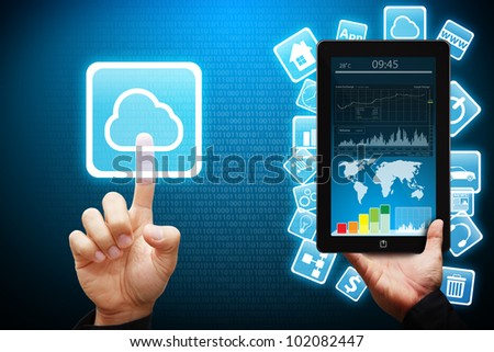 Smart hand touch on Cloud computing icon from tablet computer - stock photo