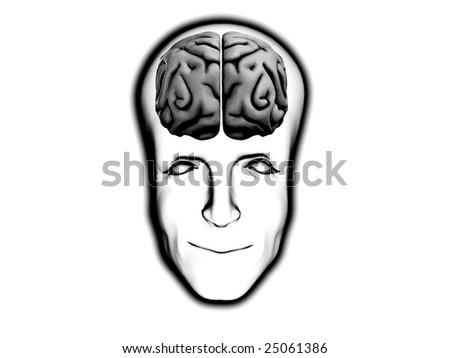 Smart Happy Head With Brain - stock photo