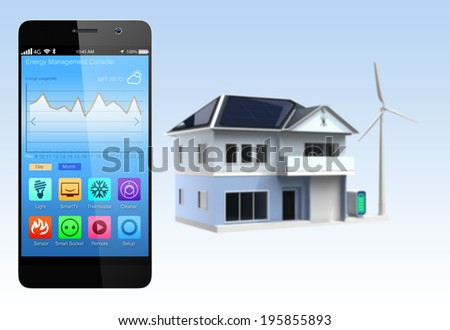 Smart home and smartphone. The app could manage home energy just few tap to the screen. Concept for home automation. - stock photo