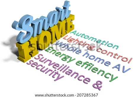 Smart home energy efficiency control technology word rows - stock photo