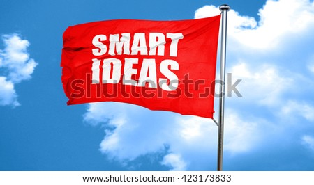 smart ideas, 3D rendering, a red waving flag - stock photo