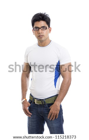 Smart Indian young man posing on white background. - stock photo