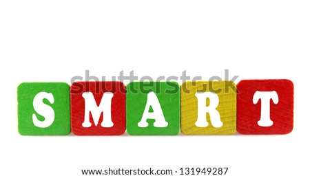 smart - isolated text in wooden building blocks - stock photo