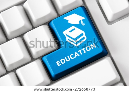 Smart keyboard and color button with book image. Education concept - stock photo