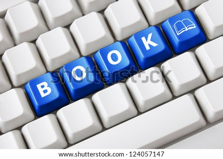 Smart keyboard with color button, book text and book symbol - stock photo