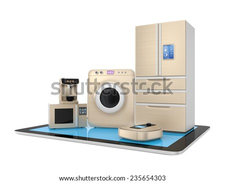 Smart kitchen appliances and tablet PC isolated on white background - stock photo