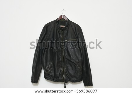 Smart leather men's jacket isolated on white wall background - stock photo