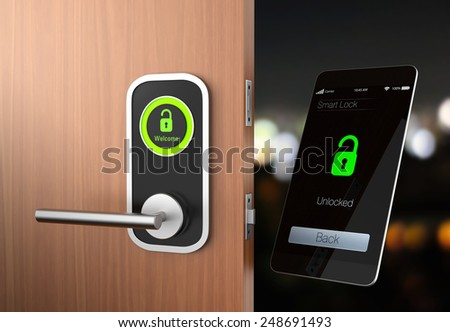 Smart lock concept with clipping path. original design - stock photo