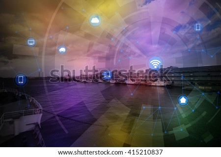 smart logistics and wireless communication network, abstract image visual, internet of things - stock photo