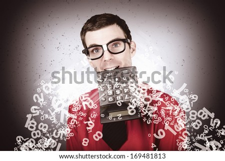 Smart male accountant number crunching tax refund during tax return time - stock photo
