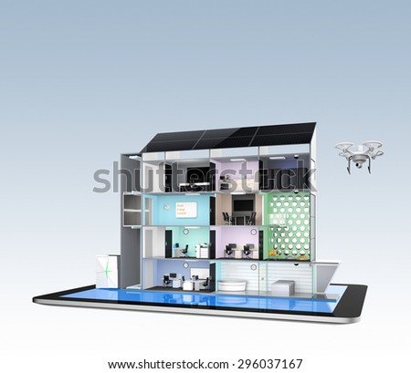 Smart office building concept model on a tablet PC. Energy support by solar panels and storage to module battery system. 3D rendering image with clipping path. - stock photo