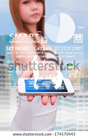 smart phone and data information for finance - stock photo