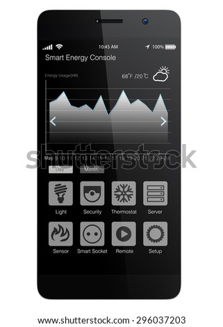 Smart phone app for quick view of energy consumption and automation control. 3D rendering image with clipping path. - stock photo