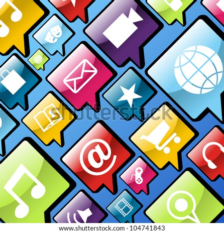 Smart phone app icon set in social bubbles background. - stock photo